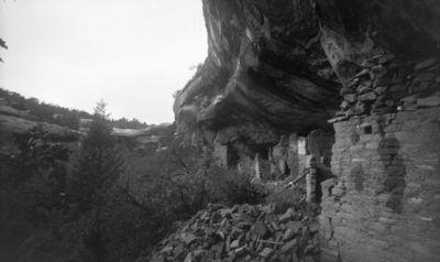 Chapin's mesa, Spruce Canyon, Spruce Tree House. Kallioasumuksen luoteispään raunioita kalliokielekkeen alla. Oik. kallionkielekkeen kattoon ulottuva raunio, jonka yläosa ladottu ilm. irtokivistä muuraamatta