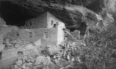 Chapin's mesa, Spruce Canyon, Spruce Tree House. Kallioasumuksen kaakkoisosa, etualalla kiva 13, jonka takana huoneet 10, 11, 9, 12, 8, 7, 5, 4 ja 3 sekä kiva 1, joista huoneet 8, 7, 5, 4, 3 ja 1 ulottuvat kalliokielekkeen kattoon.