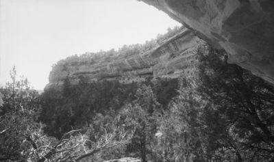 Chapin's mesa, Spring House Canyon (Bobcat C.), raunio 14 - Double House. Double House kuvattuna pohjoisesta, keskellä kuvaa näkyvissä kallioasumus, joka on sijoitettu kahdelle päällekkäiselle kallionkielekkeelle