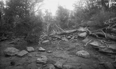 Wetherill's mesa, Mountain Sheep Canyon (Rock C.). Kodak Housen yläpuolella sijainneen vesisäiliön rauniot; etualalla laakeaa kalliota, jonka reunoilla matalia kiviä kehässä, taustalla kasvavia ja kaatuneita puita