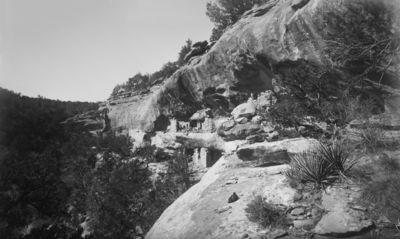 Chapin's mesa, Pool Canyon, keskimmäinen raunio. Kahdessa tasossa sijaitseva kallioasumus, jonka alempi osa ulottuu kallionkielekkeen kattoon, ylempi osa, joka on aivan alemman päällä, on matalampi
