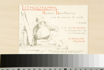 Invitation Card [to an Exhibition of Lithographs, and demonstration, at Robert Dunthorne's Gallery]