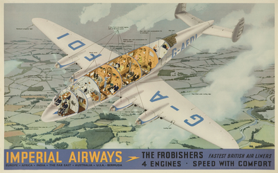 Poster: 'The Frobishers, Fastest British Air Liners ...' [Imperial Airways]
