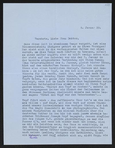 Brief von Hans von Hülsen an Margarete Hauptmann