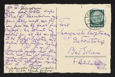 Brief von Hans von Hülsen, Friedrich W. Herzog und Unbekannt an Margarete Hauptmann