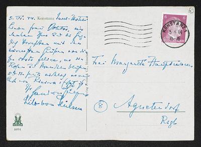 Brief von Hans von Hülsen und Unbekannt an Margarete Hauptmann