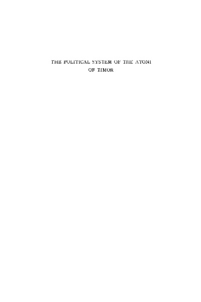 The Political System of the Atoni of Timor