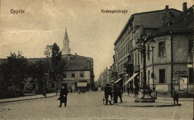 Opole : Krakauerstrasse [fragment ulicy Krakowskiej od strony pl. Wolności z nieistniejącym już dziś narożnym budynkiem]