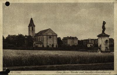 Opole : widok kościoła pw. Najświętszego Serca Jezusa z figurą św. Sebastiana od ulicy Oleskiej