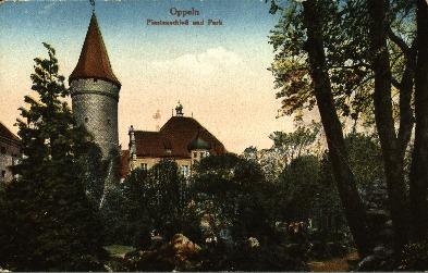 Opole : Piastenschloss und Park [widok na zamek, wieżę i park od strony północnej