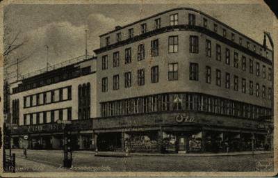 Opole : Am Annabergplatz [dom towarowy Franza Justa i sklep obuwniczy Ota
