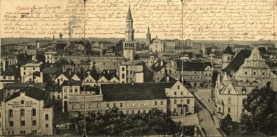 Opole : panorama śródmieścia od zachodu w 1898 r.; od lewej strony firma wydawnicza Erdmanna Raabe, browar zamkowy rodziny Friedländer, kościół ewangelicki, dziś katolicki pw. Świętej Trójcy