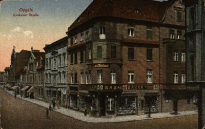 Opole : Krakauer Strasse [róg ulic Krakowskiej i Damrota z istniejącym do dziś budynkiem narożnym]