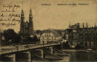 Opole : Oderbrücke mit Katholische Pfarrkirche [prawobrzeżna część miasta od zachodu z Ostrówkiem i fragmentem Pasieki, katedrą i na pierwszym planie z mostem Piastowskim]