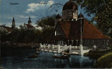 Opole : Eishaus [Domek lodowy z przystanią i z synagogą w tle]