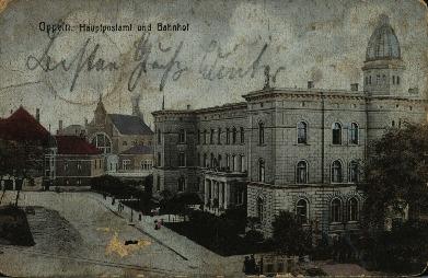 Opole : Hauplpostamt und Bahnhof [końcowy fragment ul. Krakowskiej z gmachem Naddyrekcji Poczty oraz dworcem kolejowym.Z prawej kopuła telekomunikacyjna z kutego żelaza