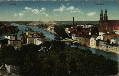 Opole : Oderpartie [widok na północną część śródmieścia z katedrą i Młynówką]