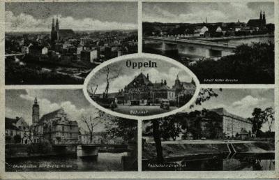 Opole : pięcioobrazkowa pocztówka m.in. panorama miasta, budynek Dyrekcji Okręgowej Kolei