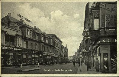Opole : Hindenburgstrasse [ul. Krakowska - widok od pl. Wolności przy rogu ul. Mozarta]