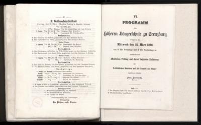 Programm der Höheren Bürgerschule zu Creuzburg womit zu der Mittwoch den 21. März 1866 von Uhr Vormittags und 2 Uhr Nachmittags an stattfindenden öffentlichen Prüfung und darauf folgenden Entlassung die Wohllöblichen Behörden und alle Freunde und Gönner
