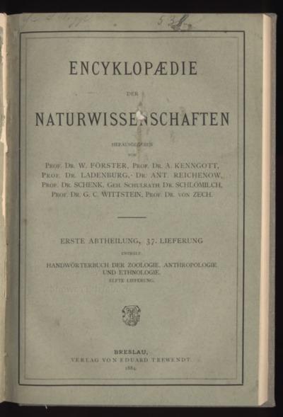 Handwörterbuch der Zoologie, Anthropologie und Ethnologie. Bd.3, Lfg.11
