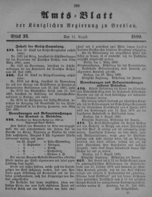 Amstblatt der Königlichen Regierung zu Breslau. Stück 33