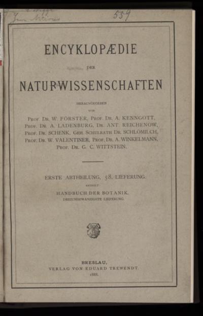 Handbuch der Botanik. Bd.4, Lfg.23