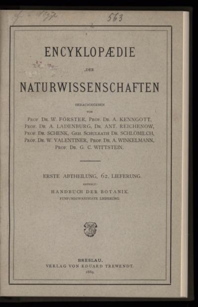 Handbuch der Botanik. Bd.4, Lfg.25