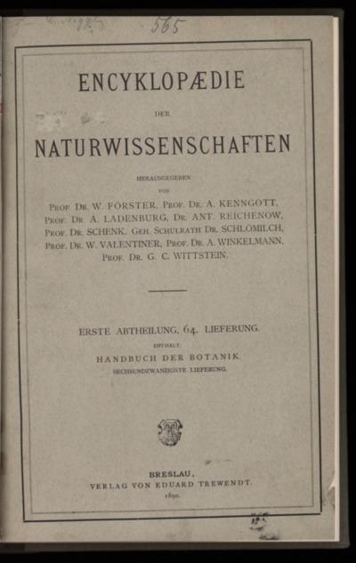 Handbuch der Botanik. Bd.4, Lfg.26