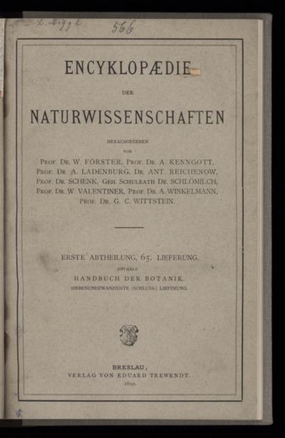 Handbuch der Botanik. Bd.4, Lfg.27