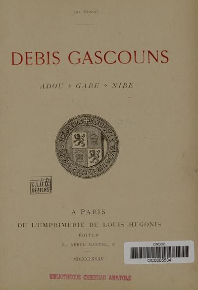 Debis gascouns : Adou, Gabe, Nibe/ Isidore Salles (de Gosse)
