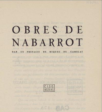 Obres / de Nabarrot ; dab ue prefacie de Miqueu de Camelat