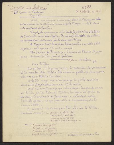 Gazeto Loubetenco. - n°33,  Abriéu 1916