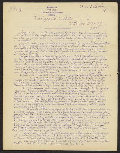 Gazeto Loubetenco. - n°45,  Setèmbre 1916