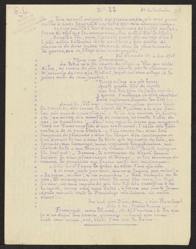 Gazeto Loubetenco. - n°22,  Desèmbre 1915