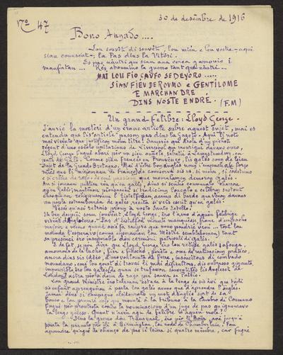 Gazeto Loubetenco. - n°47,  Desèmbre 1916