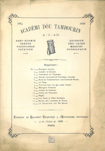 Acadèmi dou tambourin [Musique imprimée] : festenau de Galoubet -Tambourin a l'Espousicien Universalo 4 juliet de 1889
