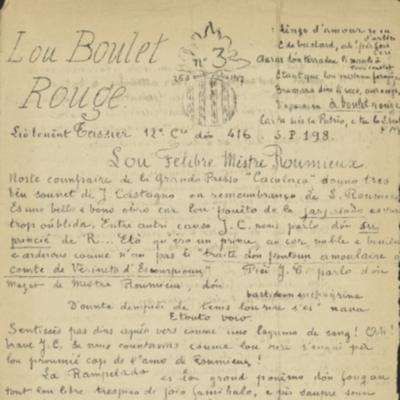 Lou Boulet Rouge dóu Liò-Tenènt Teissier 12e Cie 416e S.P. 198. - n°13,  Mars-Abrièu 1918