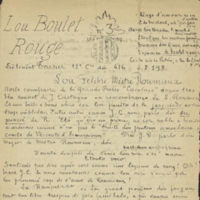 Lou Boulet Rouge dóu Liò-Tenènt Teissier 12e Cie 416e S.P. 198. - n°15,  Avoust 1918