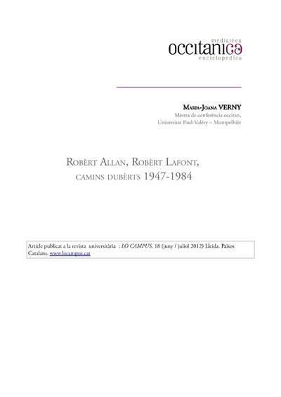 Robèrt Allan, Robèrt Lafont, Camins dubèrts 1947-1984 / de Maria-Joana Verny
