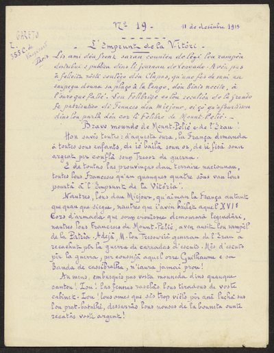 Gazeto Loubetenco. - n°19,  Desèmbre 1915