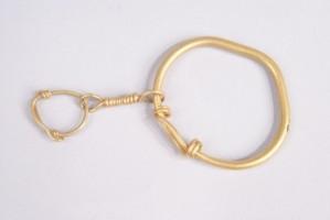 Златна обица, направена от две свързани халки.