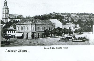 Centrul istoric al municipiului Zalău, P-ța Kossuth - partea nordică, azi P-ța Iuliu Maniu