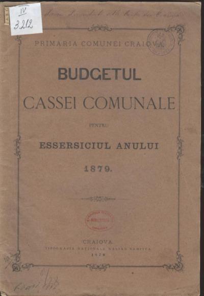 Budgetul Cassei Comunale pentru essersiciul anului 1879