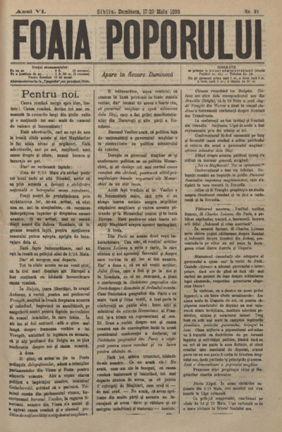 Foaia Poporului, anul VI, nr. 21