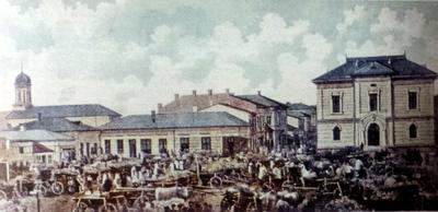 Imagine din Piața veche a Drăgășanilor