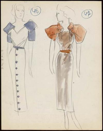 [Modèle de robe et chapeau]