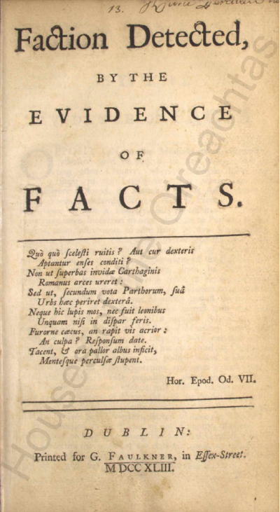 Faction detected by the evidence of facts Pamphlets