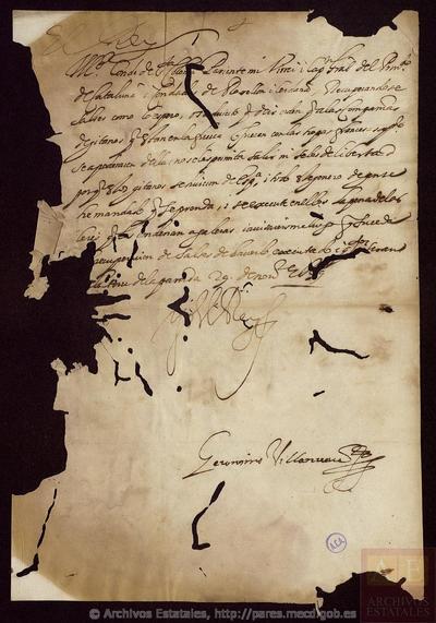 Carta de REY / VILLANUEVA, Jerónimo a SANTA COLOMA, Conde de