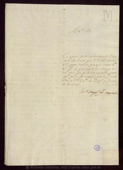 Carta de MAGAROLA, Miquel Joan de a [SANTA COLOMA, Conde de]